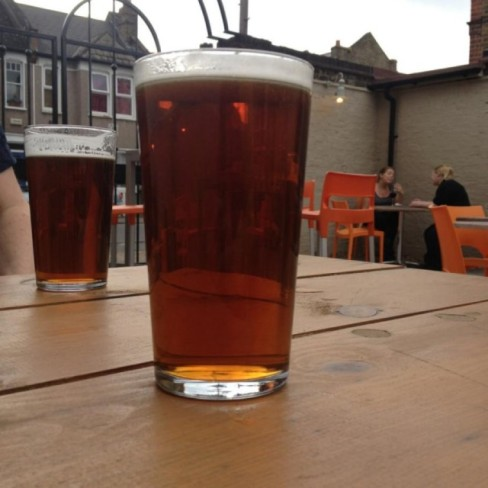 pint of box steam brewery's tunnel vision at the station in hither green