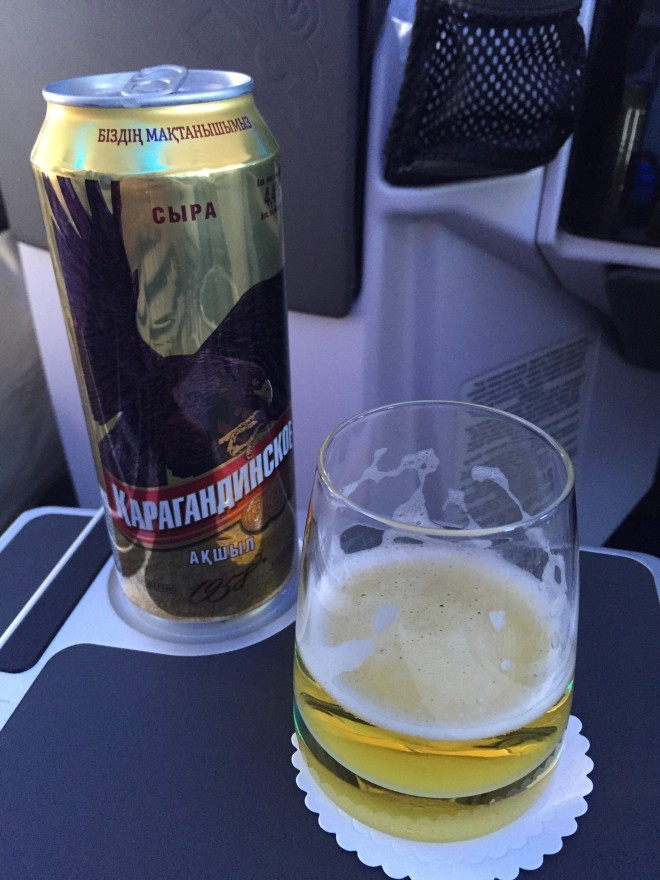 karagandinskoe svetloe, had on air astana between almaty and astana. not a shabby plane beer.